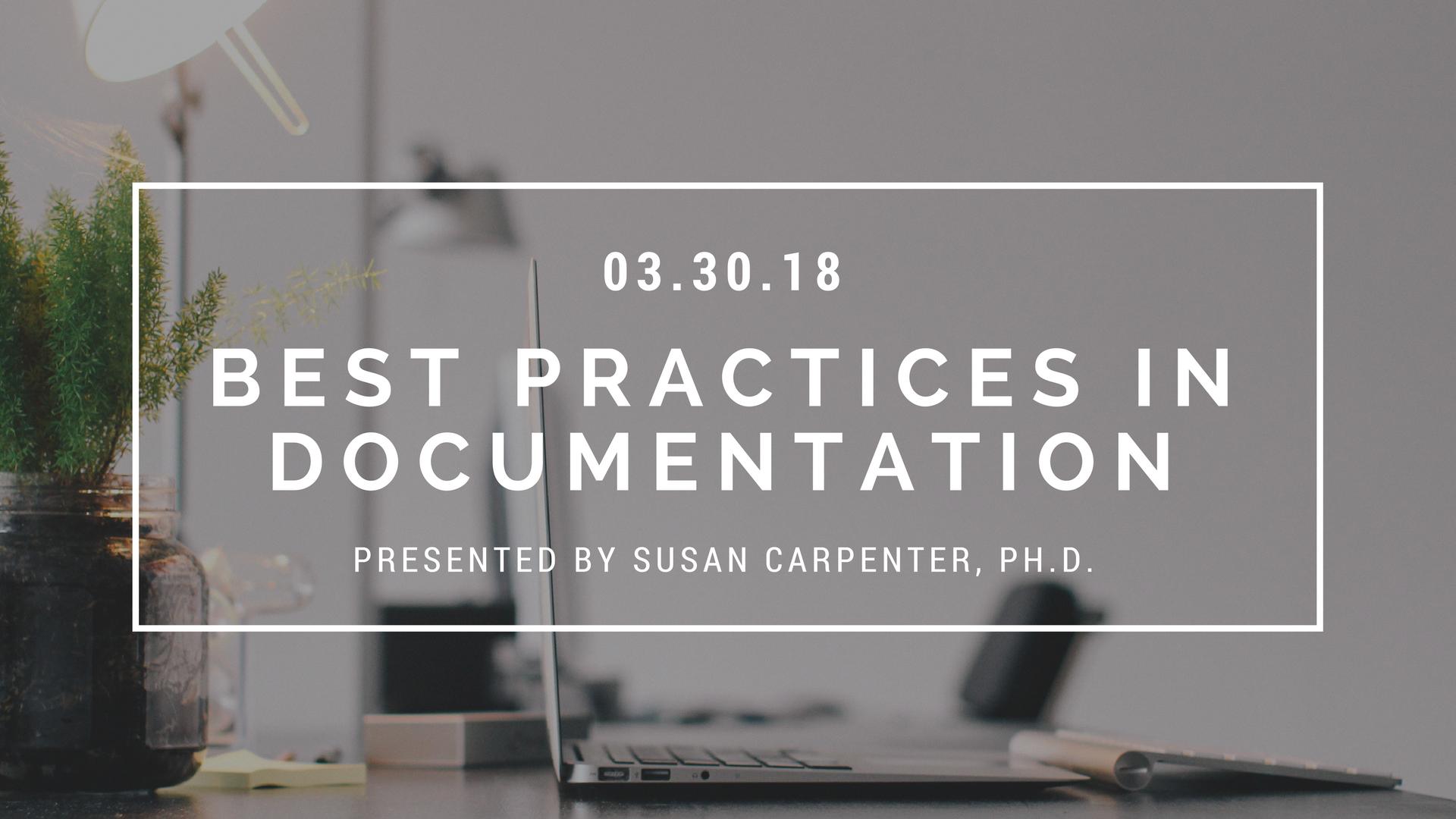 Training Seminar: Best Practices In Documentation